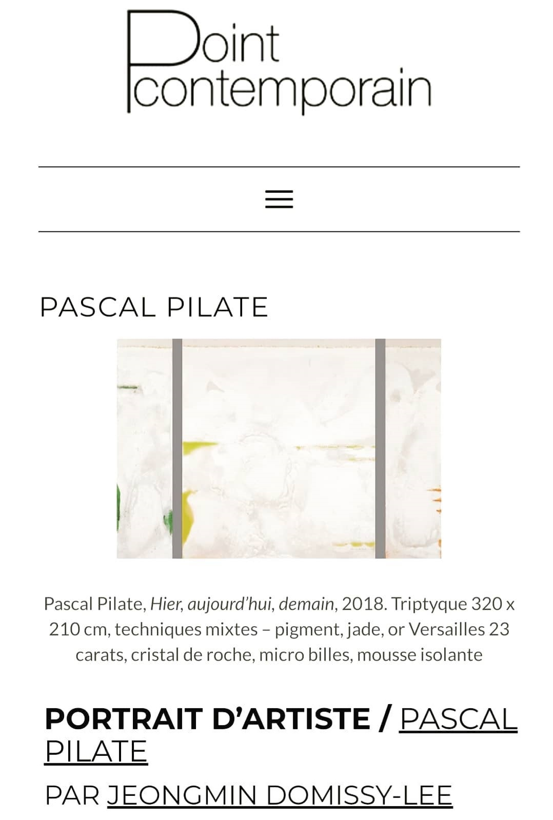 PORTRAIT D'ARTISTE – PASCAL PILATE, POINT CONTEMPORAIN 2020
