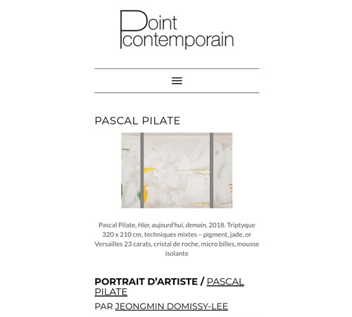 PORTRAIT D'ARTISTE – PASCAL PILATE, POINT CONTEMPORAIN 2020